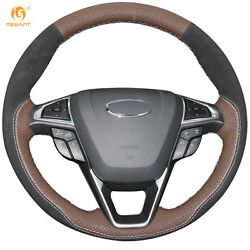 Palm Red Black Suede Steering Wheel Cover For Ford Fusion Mondeo Edge 46