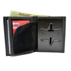 Perfect Fit Illinois State Police Badge Wallet 6pt Star Bifold Leather Mens 104