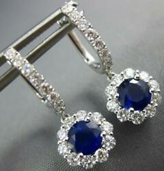 2.0ct Diamond And Aaa Sapphire 18kt White Gold 3d Flower Huggie Hanging Earrings