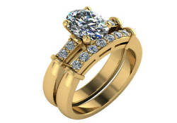 1.15 Ct G Vs2 Oval And Round Diamond Engagement Wedding Ring Set 18k Yellow Gold
