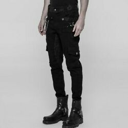 Mens Rave Gothic Rock Long Pant Steampunk Vintage Clothing Spring Trousers Black
