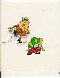 1970 Quisp And Announcer Cereal Jay Ward Cartoon Production Art Cell