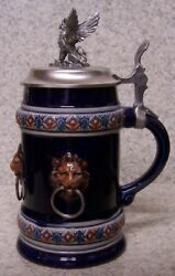 Beer Stein With Lid Stoneware Lion Heads 0.75 Liter New Made In Germany Boxed