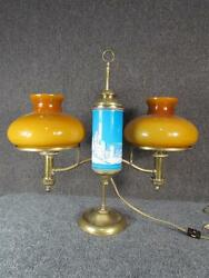 Rare Antique 1879 Kleeman Hinrichs Double Brass Student Lamp....mary Gregory