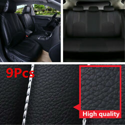 9Pcs Black Luxury PU Leather Car Seat Covers Seat Cushion Cover Car Accessories