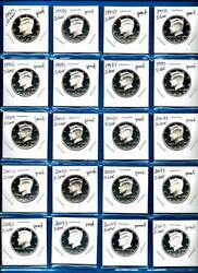 1992 S -2019 S Silver Proof Kennedy Half Dollar Set-28 Silver Proof Coins