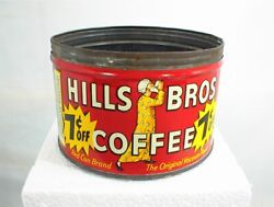 Vintage Hills Bros Brothers Coffee Can Tin 1 Lb. 7¢ Off Red Can Brand No Lid Key
