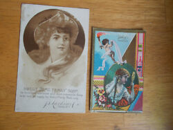 Pair Of 1880s J.d.larkin And Co Buffalo Advertising Trade Cards Boraxine Andsoap