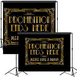 Roaring 20s Gatsby Prohibition Ends Here Backdrop Scene Setter Photo Booth Props