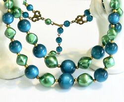 True Teal Blue Lucite Moonglow Mint Green Beaded Two Double Strand Necklace Set