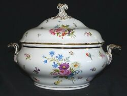Meissen Germany Dresden Floral W/ Butterfly Covered Vegetable Bowl / Tureen Flaw