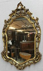Antique High Quality Gold Country French Louisxv Heavy Carved Wood Mirror C1870