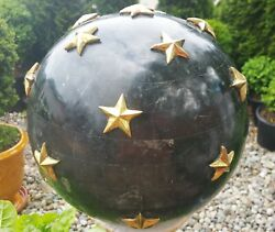 Federal Furniture Black Marble Sculpture Brass Stars Globe Antique Colonial Art