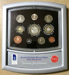 United Kingdom - Deluxe 10 Coin Proof Set - 2000 - Stand-up Display Case