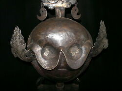 Old Nepal Tibet Tantric Sky Iron Trident Crown Citipati Head With Phurba Stand