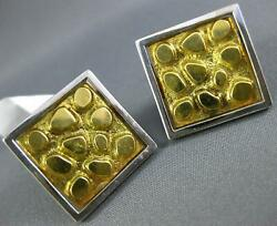 Estate Large 18kt White And Yellow Gold 3d Classic Square Nugget Cufflinks 1163