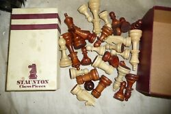 Toys Board Game Chess Staunton Tournament Quality 27 Wood Pieces 9cm Tall King