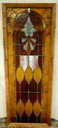 Antique Large Leaded Stained Glass Window Panel 32.5 X 85andrdquo 7 Feet + 1. 1900