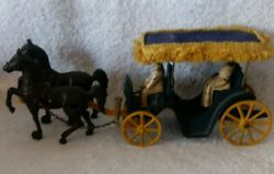 1940's Stanley Cast Iron And Aluminum Horse Drawn Surrey W/canopy And Figures 2