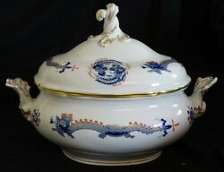 Meissen Germany Blue Dragon Covered Vegetable Bowl / Tureen -red And Gold Accents