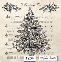 1264 Two Individual Paper Luncheon Decoupage Napkins - Christmas Tree Music