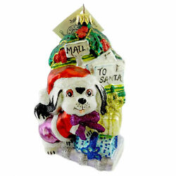 Larry Fraga LETTER TO SANTA Blown Glass Christmas Ornament Dog Puppy 6