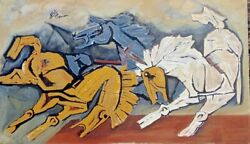 M F Husain with his PaintIng 48 X 56 In.Acrylic On CanvasSignedCertificate
