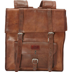 Sharo Leather Bags Large Roll Up Backpack - Brown Everyday Backpack NEW