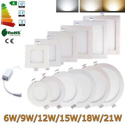 Dimmable Epistar Recessed Led Panel Light Ceiling Down Lights 9w 12w 15w 18w 21w