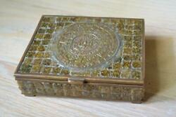 Vintage Mexican Aztec Cigarette Box Brass W/wood Lining - Very Good Condition