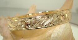 12mm Bm 14k Yellow Gold Hawaiian Heirloom Custom Engraved Personalized Bangle