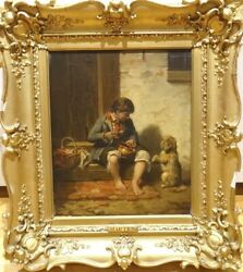 19th Century German Peasant Boy & Terrier Dog Begging Willem Johannes MARTENS