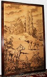 Antique French Tapestry 7 Ft Oak Farm Dog Watching Cows Landscape Circa 1870