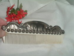 Vintage Antique Silver Plated White Celluloid Large Vanity Hair Comb