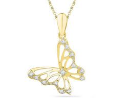 Diamond Butterfly Pendant Necklace In 10k Yellow Gold With Chain