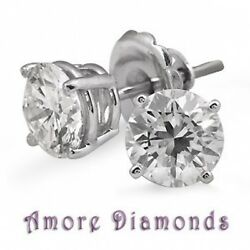 1.20 Ctw Gia G Si2 Excellent Round Diamond Solitaire Earrings Platinum Push Back