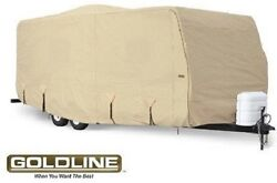 Goldline Premium Rv Travel Trailer Cover Fits 22 To 24 Foot Tan 22 23 24 Ft