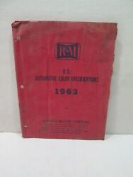 R-m Rinished-mason 1963 Automotive Color Specifications Manual Ford Chrysler Gm