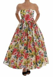 Dolce & Gabbana Multicolor Floral Print Ball Gown Dress