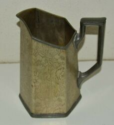 Vintage Tapestry Silver Plated Floral Art Deco Water Metal Pitcher Wb Mfg Co