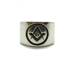 Sterling Silver Menand039s Masonic Ring Solid Hallmarked 925 R001998 Nickel Free