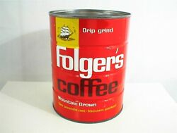 Vintage Folgers Coffee Can Drip Grind 2 Lb Tin