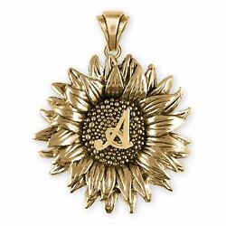 Sunflower Jewelry 14k Gold Handmade Sunflower With Initial Pendant Sftx6-inpg