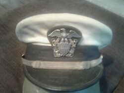 Ww2 U.s. Naval Officers White Dress Hat With Sterling Silver Eagle Insignia