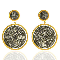 Solid Yellow Gold 8.4ct Pave Diamond Sterling Silver Disc Dangle Earrings Gift
