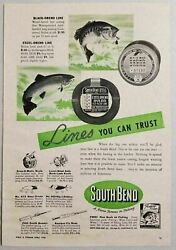 1949 Print Ad South Bend Fishing Lines, Reels And Rods South Bend,in