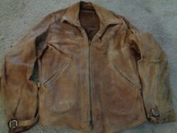 Rare Vtg Distressed Jacket Leather M Men Motorcycle Racing 30s 40s Western Usa
