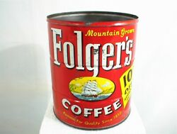 Vintage Folgers Coffee Can 2 Lb Tin Mountain Grown Copyright 1959 10 Cents Off