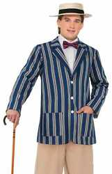 Men's Roaring 20's Halloween Boater Jacket Adult Costume Accessory X-large