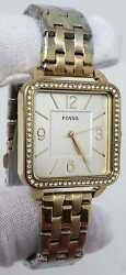 Fosil Shiloh Square Crystals 30mm Silver Dial Gold Women's Watch Bq3367ie Sd